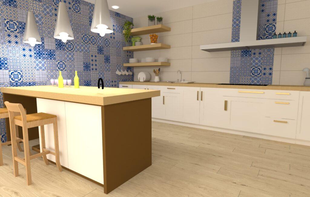 Cocina Navy con suelo porcelánico y revestimiento hidráulico. Diseño y venta Celestino Blanco