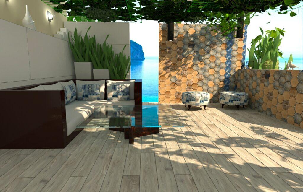 Patio de entrada diseño gran formato madera y exagonal