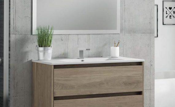 Mueble para ba o en oferta con lavabo y espejo celestino for Oferta mueble bano