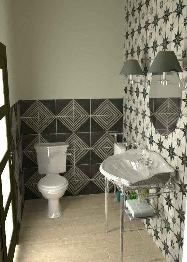 Baño revestido con material hidráulico y madera cerámica. Diseño Celestino Blanco